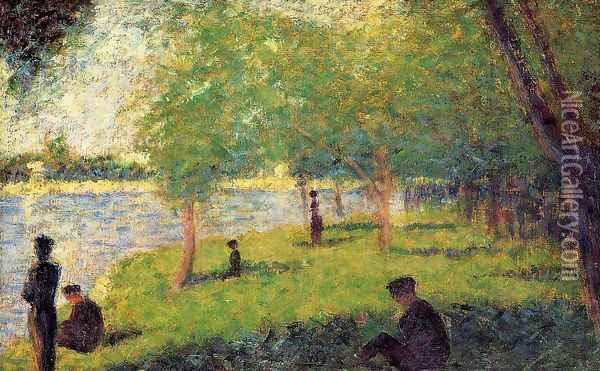 Study with Figures Oil Painting - Georges Seurat