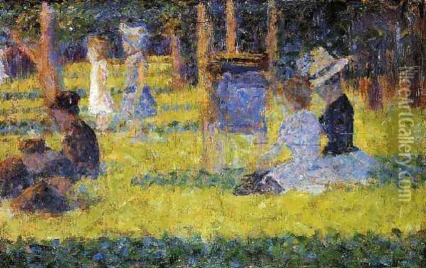 Woman Seated and Baby Carriage Oil Painting - Georges Seurat