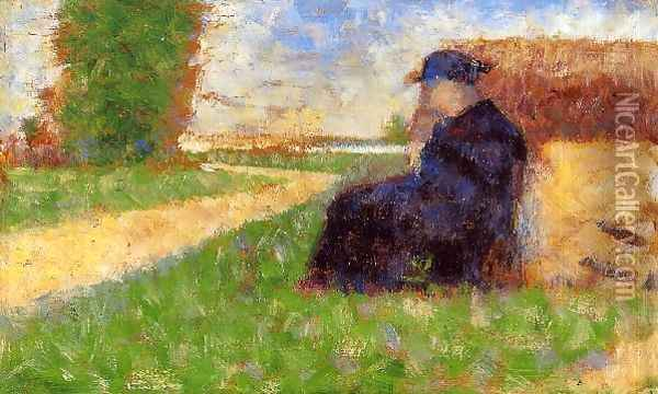 Large Figure in a Landscape Oil Painting - Georges Seurat