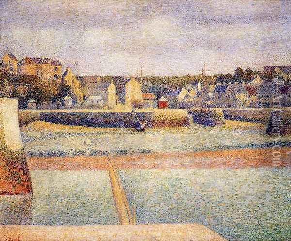 Port-en-Bessin, The Outer Harbor, Low Tide Oil Painting - Georges Seurat