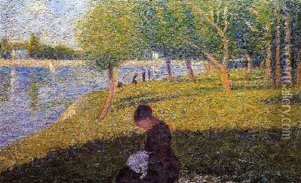 Woman Sewint Oil Painting - Georges Seurat