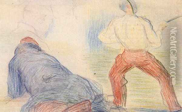 Soldier Fencing, Another Reclining Oil Painting - Georges Seurat