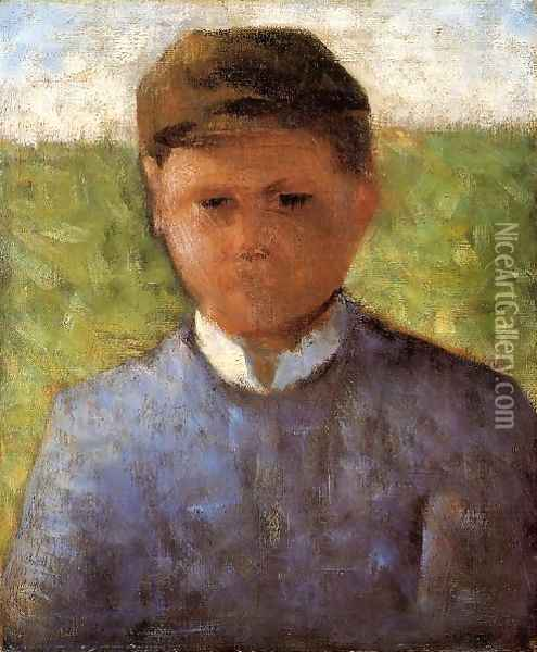 Young Peasant in Blue Oil Painting - Georges Seurat