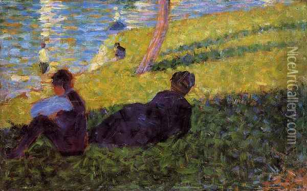 Seated Man, Reclining Woman Oil Painting - Georges Seurat