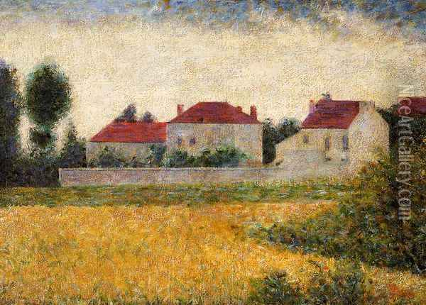 White Houses, Ville d'Avray Oil Painting - Georges Seurat