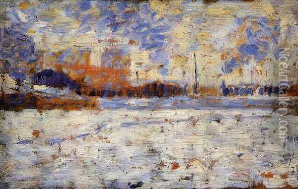 Snow Effect: Winter in the Suburbs Oil Painting - Georges Seurat