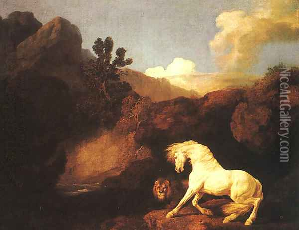 A Horse Frightened by a Lion 1770 Oil Painting - George Stubbs