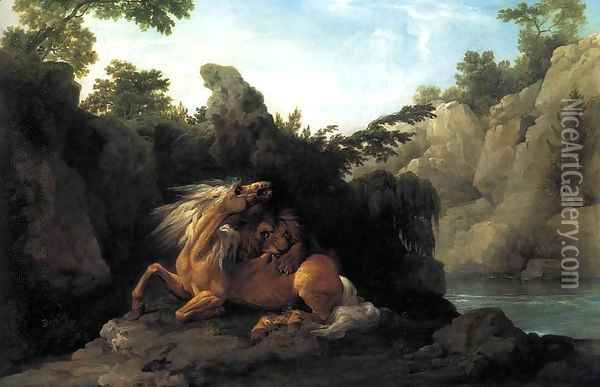 Lion Devouring a Horse 1763 Oil Painting - George Stubbs