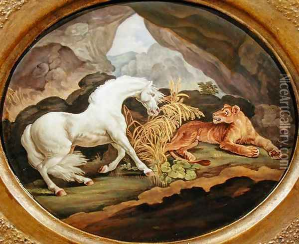 A Horse Frightened by a Lioness after George Stubbs 1724-1806 Oil Painting - George Stubbs