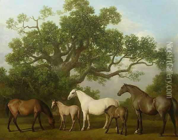 Mares and Foals under an Oak Tree, 1773 Oil Painting - George Stubbs
