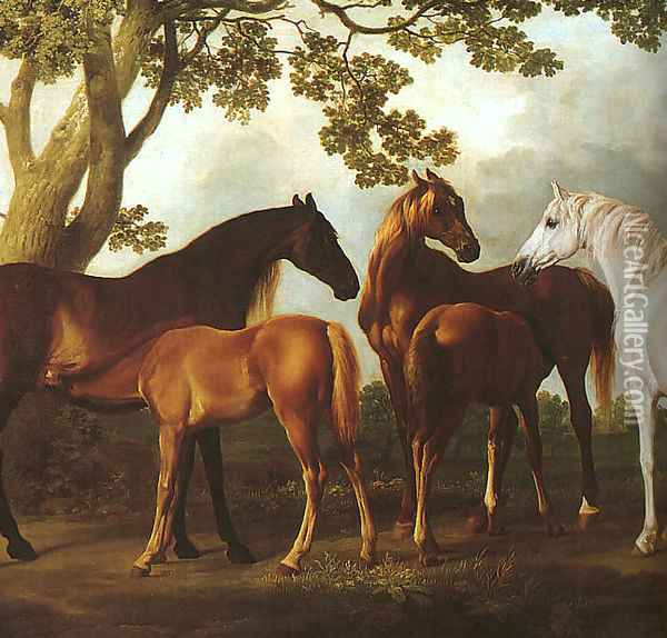 Mares and Foals in a Landscape (detail) 1760-69 Oil Painting - George Stubbs