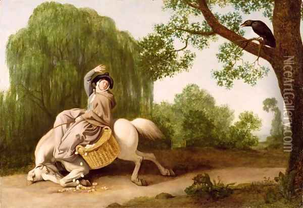 The Farmers Wife and the Raven, 1786 Oil Painting - George Stubbs