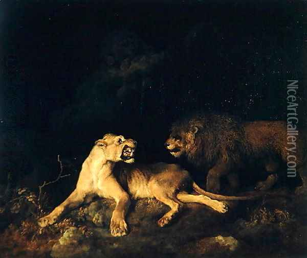 Lion and Lioness Oil Painting - George Stubbs