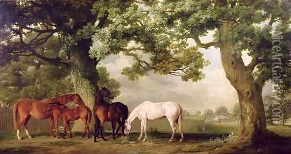 Mares and Foals Beneath Large Oak Trees, c.1764-68 Oil Painting - George Stubbs