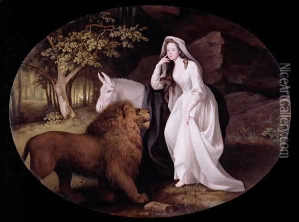 Una and the Lion Isabella Saltonstall as Una in Spensers Faerie Queene, 1782 Oil Painting - George Stubbs