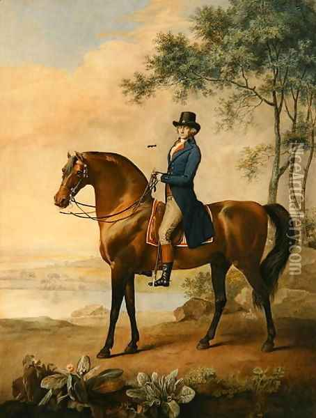Warren Hastings Esq. on his Arabian Horse, after a painting by George Stubbs, 1796 1724-1806 Oil Painting - George Stubbs