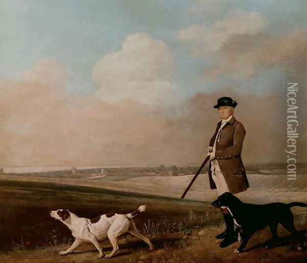 Sir John Nelthorpe, 6th Baronet out Shooting with his Dogs in Barton Field, Lincolnshire, 1776 Oil Painting - George Stubbs