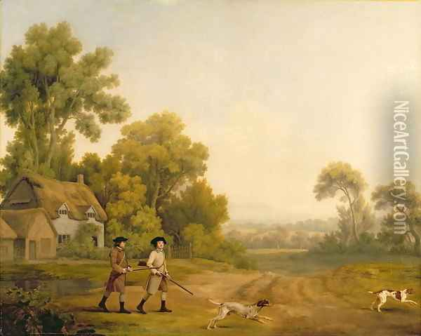 Two Gentlemen Going a Shooting Oil Painting - George Stubbs