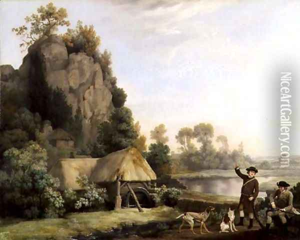Two Gentlemen Going a Shooting, with a View of Creswell Crags, Taken on the Spot Oil Painting - George Stubbs