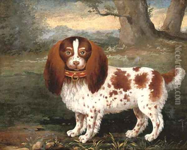 A spaniel in a landscape Oil Painting - George Stubbs