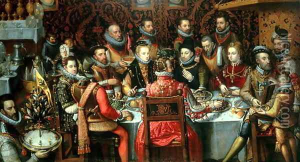 The Banquet of the Monarchs, c.1599 Oil Painting - Alonso Sanchez Coello