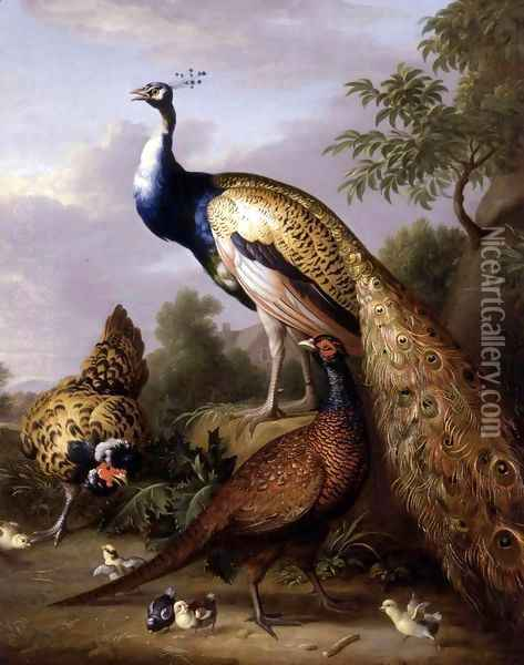 Peacock, Hen and Cock Pheasant in a Landscape Oil Painting - Tobias Stranover