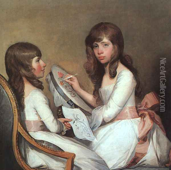 Miss Dick and her Cousin Miss Forster 1792-97 Oil Painting - Gilbert Stuart
