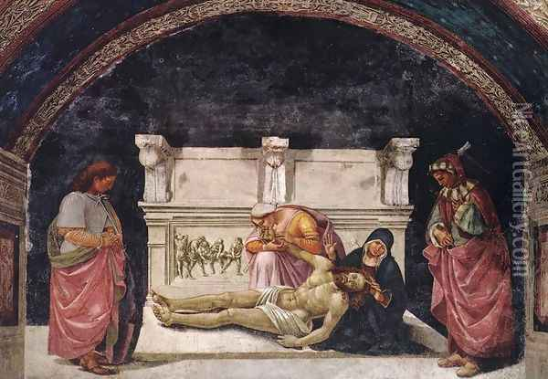 Lamentation over the Dead Christ with Sts Parenzo and Faustino 1499-1502 Oil Painting - Francesco Signorelli