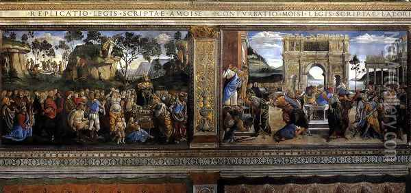 Scenes on the left wall 1481-82 Oil Painting - Francesco Signorelli