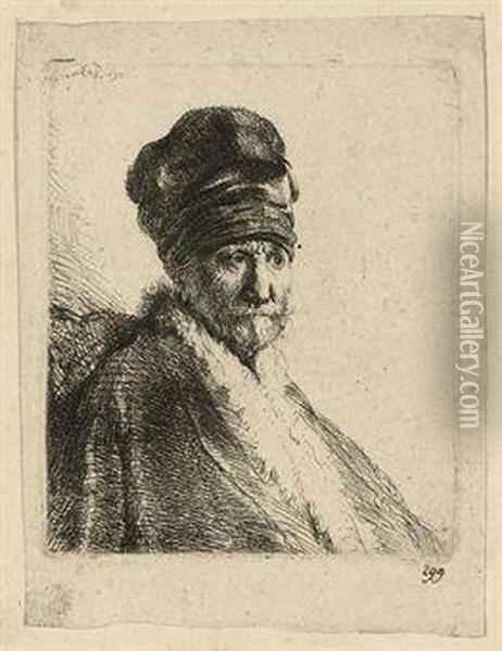 Bust Of A Man Wearing A High Cap, Three-quarters Right: The Artist's Father? Oil Painting - Rembrandt Van Rijn