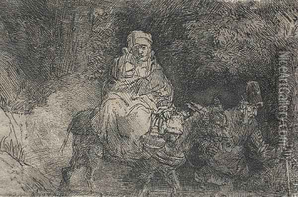 The Flight Into Egypt, Crossing A Brook Oil Painting - Rembrandt Van Rijn
