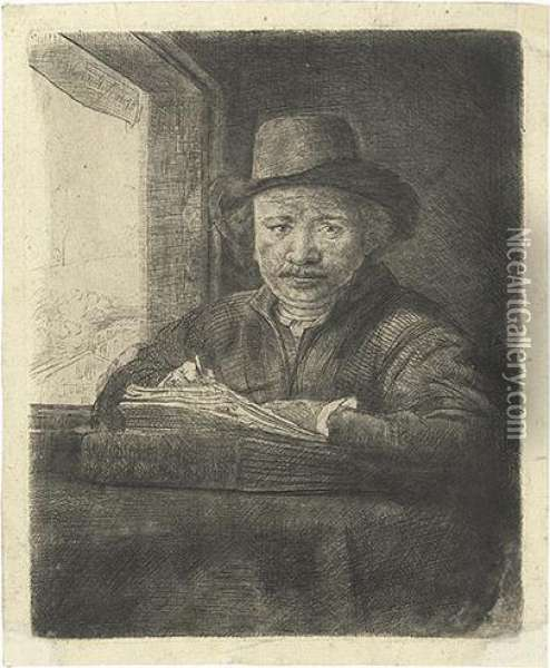 Self Portrait Drawing At A Window. Oil Painting - Rembrandt Van Rijn