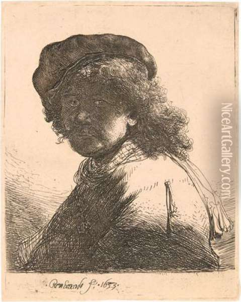 Self Portrait In A Cap And Scarf With The Face Dark: Bust. Oil Painting - Rembrandt Van Rijn