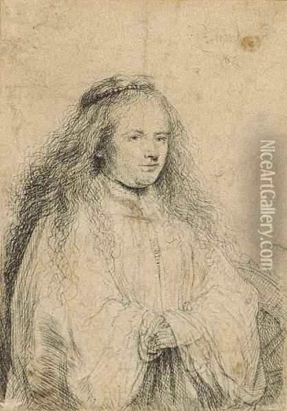 The Little Jewish Bride (saskia As Saint Catherine) Oil Painting - Rembrandt Van Rijn