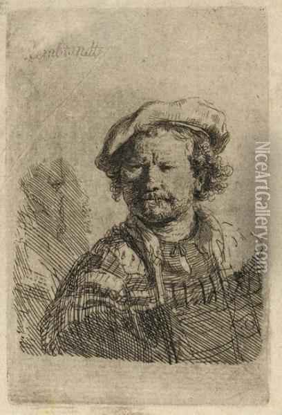 Self-portrait In A Flat Cap And Embroidered Dress Oil Painting - Rembrandt Van Rijn