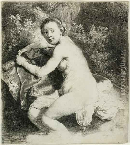 Diana At The Bath (b., Holl. 201; H. 42) Oil Painting - Rembrandt Van Rijn