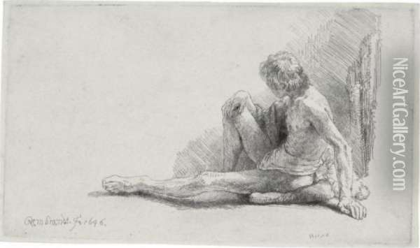 Nude Man Seated On The Ground With One Leg Extended (b., Holl. 196; H. 221; Bb. 46-c) Oil Painting - Rembrandt Van Rijn