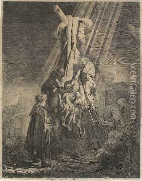 The Descent From The Cross: The Second Plate Oil Painting - Rembrandt Van Rijn