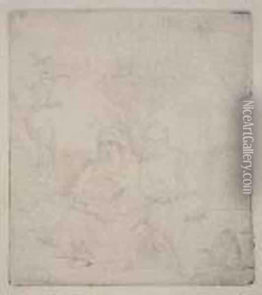 The Rest On The Flight: Lightly Etched Oil Painting - Rembrandt Van Rijn