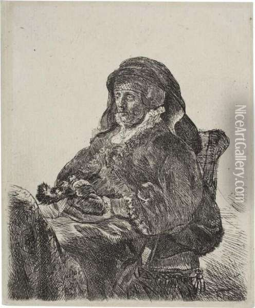 The Artist's Mother Seated, In A Widow's Dress And Blackgloves Oil Painting - Rembrandt Van Rijn