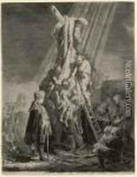 The Descent From The Cross: Second Plate Oil Painting - Rembrandt Van Rijn