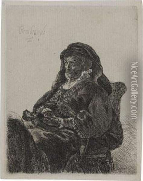 The Artist's Mother Seated, In Widow's Dress And Blackgloves Oil Painting - Rembrandt Van Rijn