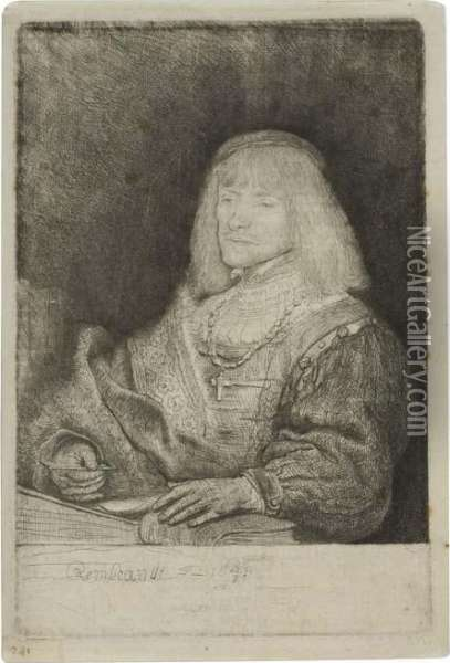 Man At A Desk Wearing A Cross And A Chain. Oil Painting - Rembrandt Van Rijn