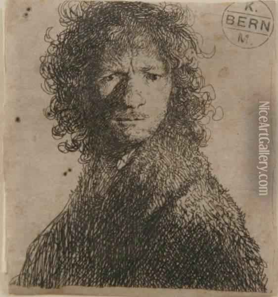 Self-portrait, Frowning: Bust Oil Painting - Rembrandt Van Rijn