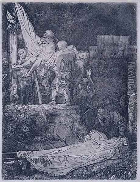 The Descent From The Cross By Torchlight Oil Painting - Rembrandt Van Rijn