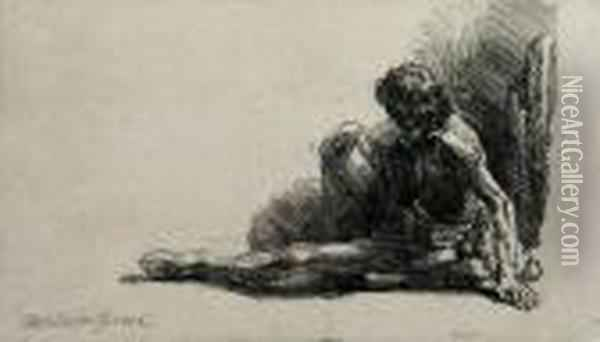 Nude Man Seated On The Ground Oil Painting - Rembrandt Van Rijn