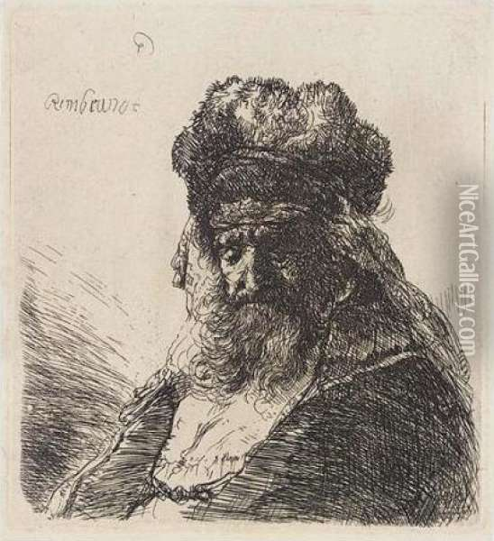 Old Bearded Man In A High Fur Cap, With Eyes Closed (b., Holl.290; H.130; Bb.35-3) Oil Painting - Rembrandt Van Rijn