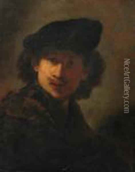 Portrait Of The Artist In A Cap And A Fur-trimmed Cloak Oil Painting - Rembrandt Van Rijn