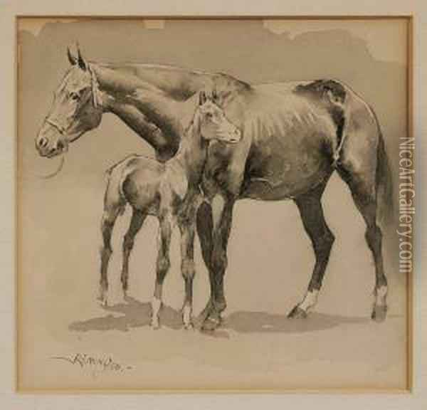 Mare And Colt Oil Painting - Frederic Remington
