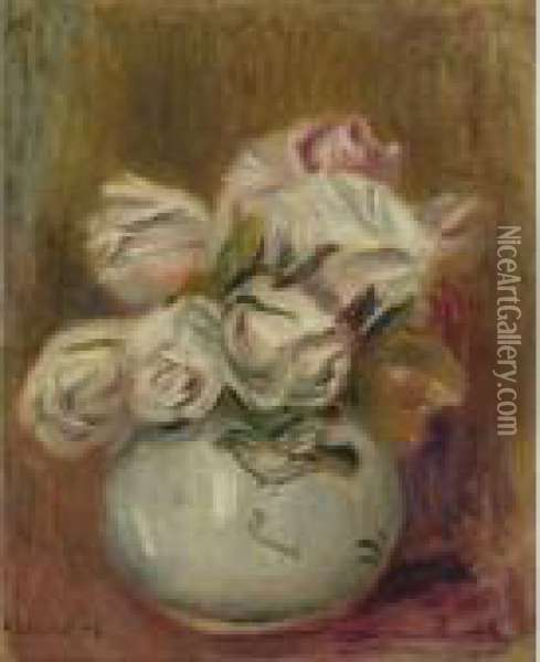 Roses Blanches Oil Painting - Pierre Auguste Renoir